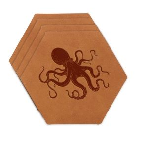 Hex Coaster Set of 4 with Strap: Octopus