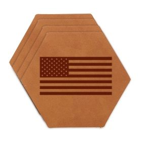 Hex Coaster Set of 4 with Strap: American Flag