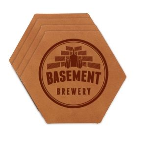 Hex Coaster Set of 4 with Strap: Basement Brewery