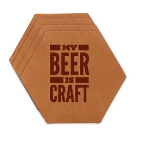 Hex Coaster Set of 4 with Strap: My Beer is Craft