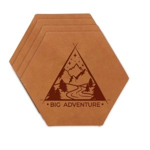 Hex Coaster Set of 4 with Strap: Big Adventure
