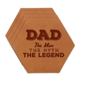 Hex Coaster Set of 4 with Strap: Dad - Man, Myth, Legend
