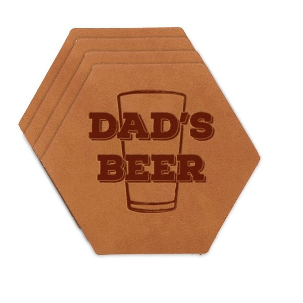 Hex Coaster Set of 4 with Strap: Dad's Beer