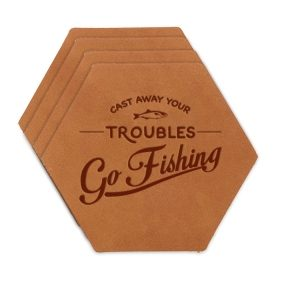 Hex Coaster Set of 4 with Strap: Go Fishing