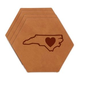 Hex Coaster Set of 4 with Strap: NC Heart