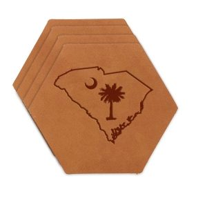 Hex Coaster Set of 4 with Strap: SC Palmetto