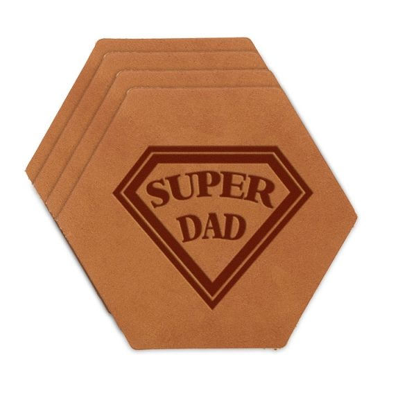 Hex Coaster Set of 4 with Strap: Super Dad