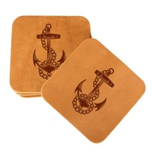 Square Coaster Set of 4 with Strap: Anchor