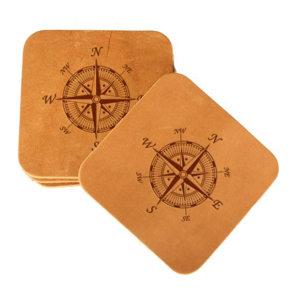 Square Coaster Set of 4 with Strap: Compass Rose
