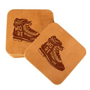 Square Coaster Set of 4 with Strap: Hike More, Worry Less