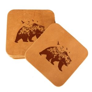 Square Coaster Set of 4 with Strap: Mountain Bear