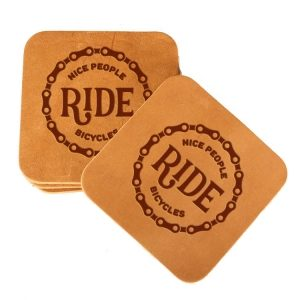 Square Coaster Set of 4 with Strap: Nice People Ride Bikes