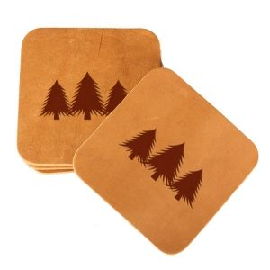 Square Coaster Set of 4 with Strap: Pine Trees