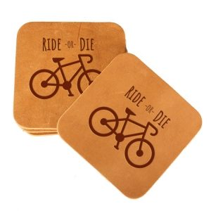 Square Coaster Set of 4 with Strap: Ride or Die