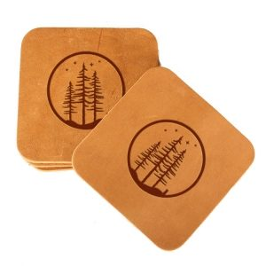 Square Coaster Set of 4 with Strap: Starry Trees