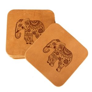 Square Coaster Set of 4 with Strap: Elephant Mandala