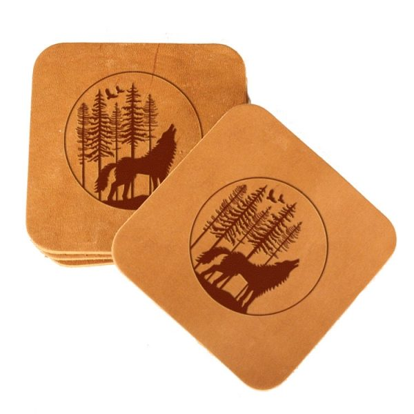Square Coaster Set of 4 with Strap: Howling Wolf
