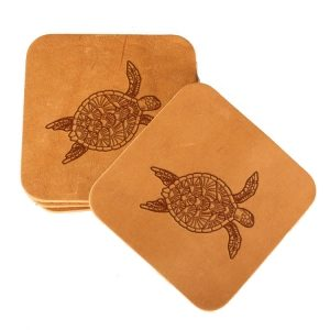 Square Coaster Set of 4 with Strap: Sea Turtle