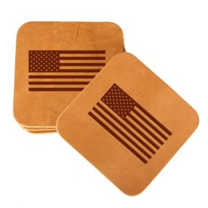 Square Coaster Set of 4 with Strap: American Flag