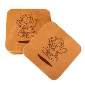 Square Coaster Set of 4 with Strap: Elephant Buddah
