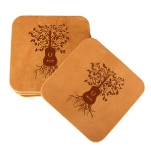 Square Coaster Set of 4 with Strap: Guitar Tree