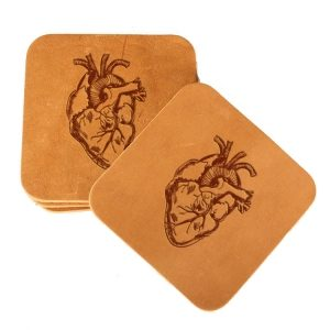 Square Coaster Set of 4 with Strap: Heart