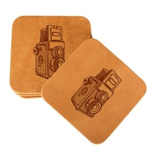 Square Coaster Set of 4 with Strap: Twin Lens Camera