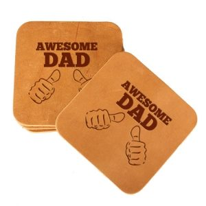 Square Coaster Set of 4 with Strap: Awesome Dad
