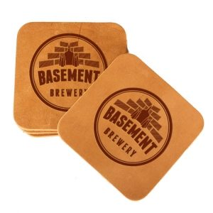 Square Coaster Set of 4 with Strap: Basement Brewery