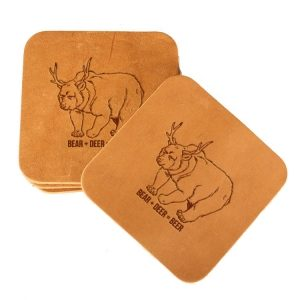 Square Coaster Set of 4 with Strap: Beer Bear