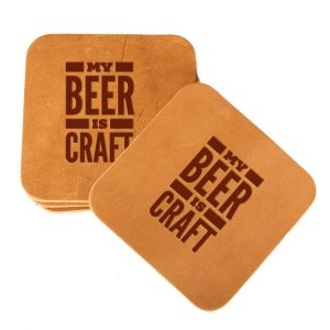 Square Coaster Set of 4 with Strap: My Beer is Craft
