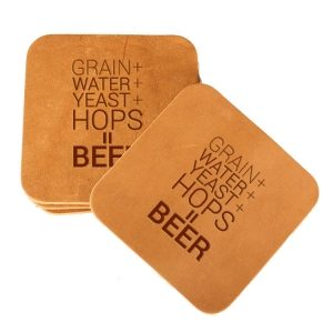 Square Coaster Set of 4 with Strap: Beer Ingredients
