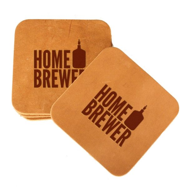 Square Coaster Set of 4 with Strap: Home Brewer