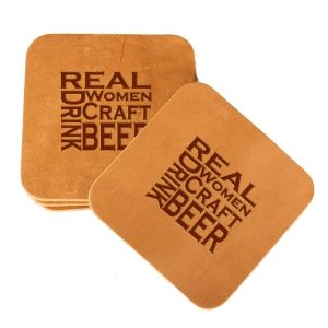 Square Coaster Set of 4 with Strap: Real Women...Beer