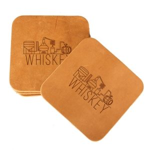 Square Coaster Set of 4 with Strap: Whiskey