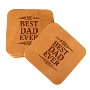 Square Coaster Set of 4 with Strap: Best Dad Ever