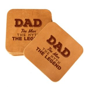 Square Coaster Set of 4 with Strap: Dad - Man, Myth, Legend