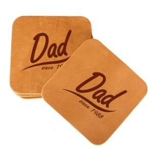 Square Coaster Set of 4 with Strap: Dad Since