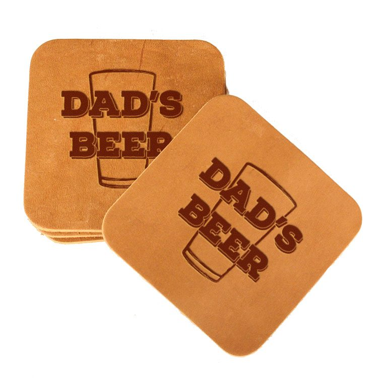 Square Coaster Set of 4 with Strap: Dad's Beer