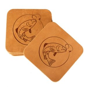 Square Coaster Set of 4 with Strap: Fish Hook