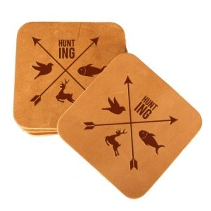 Square Coaster Set of 4 with Strap: Hunting Cross
