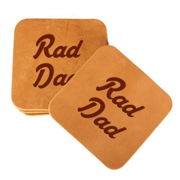Square Coaster Set of 4 with Strap: Rad Dad