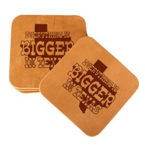 Square Coaster Set of 4 with Strap: Bigger In TX