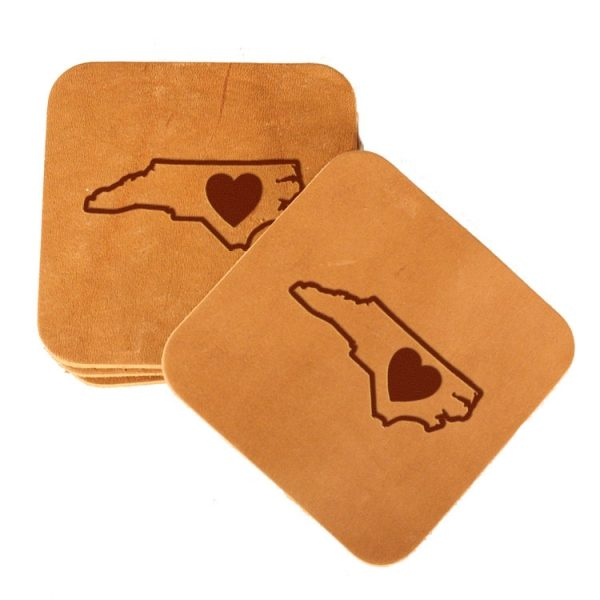 Square Coaster Set of 4 with Strap: NC Heart