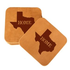 Square Coaster Set of 4 with Strap: TX Home