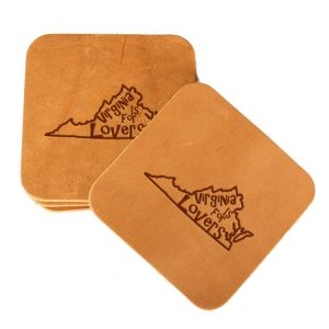 Square Coaster Set of 4 with Strap: VA is for Lovers