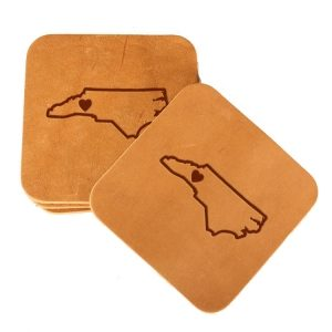 Square Coaster Set of 4 with Strap: WNC Heart
