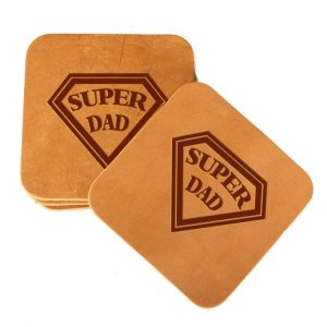 Square Coaster Set of 4 with Strap: Super Dad