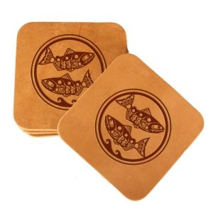Square Coaster Set of 4 with Strap: Zen Fish / Pisces