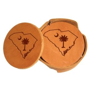 Round Coaster Set: SC Palmetto